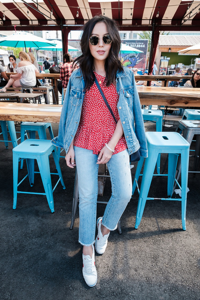 t-shirt polka dots cropped jeans skinny jeans denim jacket nike sneakers white sneakers blogger blogger style crossbody bag shoes jeans jacket top tumblr red top denim blue jeans sneakers low top sneakers sunglasses