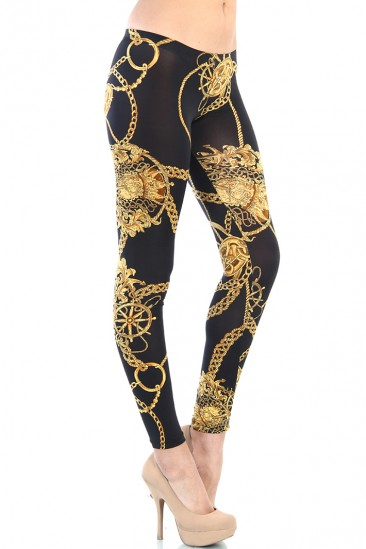 LoveMelrose.com From Harry & Molly | GOLD CHAIN LEGGINGS - BLACK
