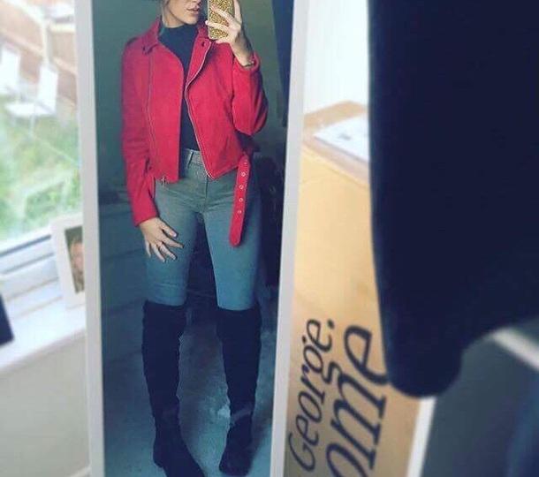 jacket red red jacket biker jacket
