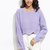 Purple Drop Shoulder Scallop Hem Crop Sweater -SheIn(Sheinside)
