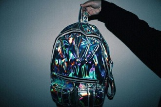 bag iridescent cool grunge shiny holographic bag assessories holographic backpack silver style rainbow girly