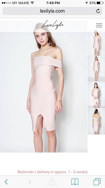 1964a4a5cf79 dress blush bandage dress blush pink pink pink dress off the shoulder off  the shoulder dress