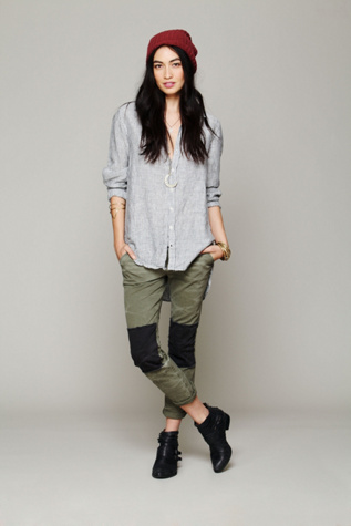 free people womens fp patched twill herringbone pant