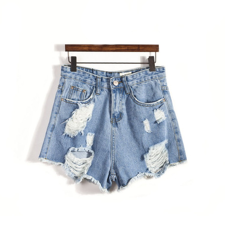 Ripped light denim shorts / back order – holypink