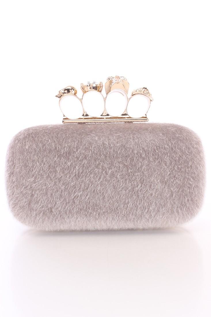 Grey Faux Fur Rhinestone Knuckle Clutch Handbag