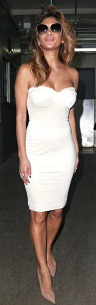 a8fc4136bdef4 dress dream it wear it dress white white dress strapless bodycon bodycon  dress midi sweetheart neckline