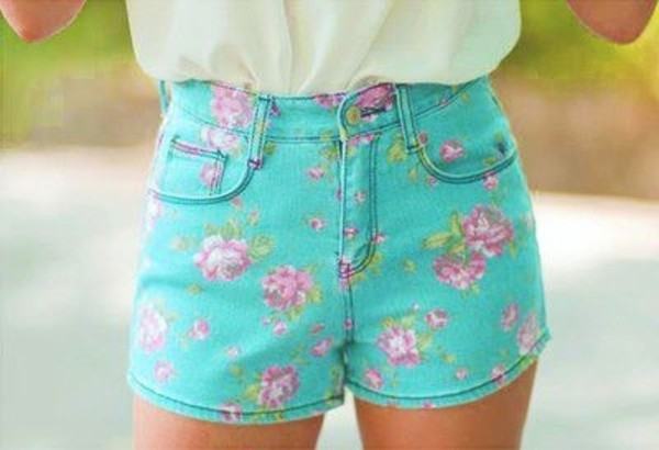 shorts floral flowered shorts High waisted shorts turquoise mint roses hippie flowers blue pink cute summer flowers mint shorts