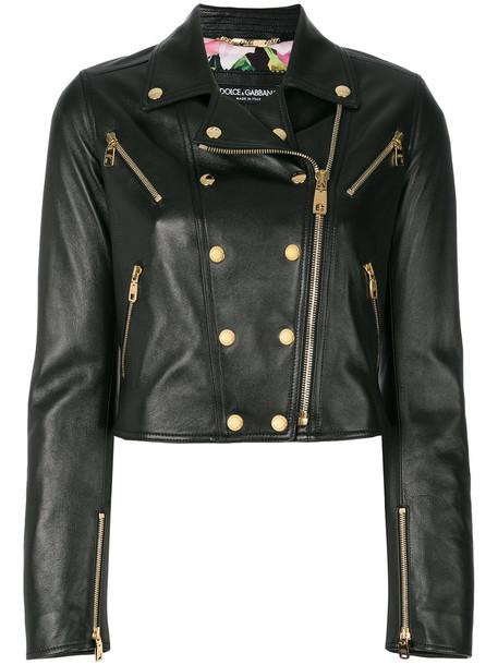 Dolce & Gabbana jacket biker jacket studded women spandex leather black
