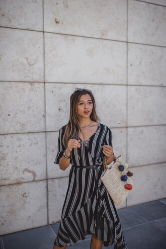 cuppajyo blogger dress shoes bag fall outfits midi dress raffia bag basket bag striped dress