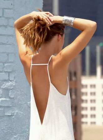 dress white summer braccelet silver slip dress floaty back detailing deep v back low cut open back