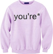 sweater,pink,sweatshirt,pullover,pull,over,funny,funny sweater,purple sweater,lavender,fall sweater,fall outfits,pastel shirt,dress,summer outfits,long dress,blue dress,off the shoulder,off the shoulder dress,sundress,cut-out dress,jersey dress,long sleeves,shoes,cl shoes