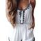 White retro ethnic black embroidery spaghetti jumpsuit - nextshe.com