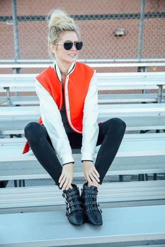 barefoot blonde blogger jacket jeans shirt shoes sunglasses ankle boots black jeans varsity jacket