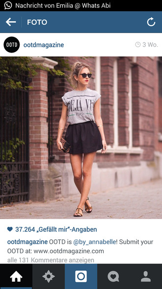 black skater skirt t-shirt grey t-shirt