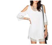 dress,crochet,lace,crochet dress,laced dress,white,white dress,gypsy,boho,bohemian,off the shoulder,off the shoulder dress,jeans,jewels