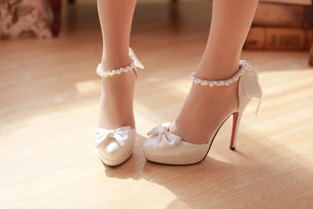 Ankle Strap Heels with Bow