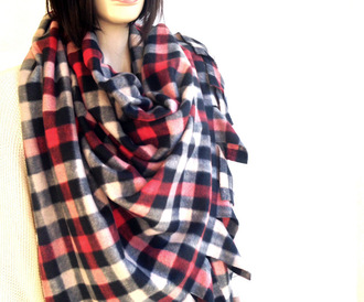 scarf blanket scarf plaid fleece blanket blanket wrap scarf accessories women winter outfits winterwear gift ideas valentine's day for her warm soft navy plaid scarves