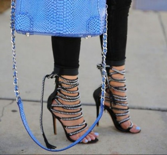 bag shoes blue black high heels strappy fringe chic blogger style vogue haute couture fashion high fashion heels