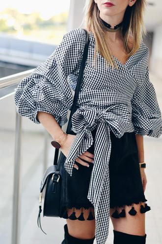 shirt tumblr black skirt mini skirt tassel checkered shirt checkered puffed sleeves necklace choker necklace black choker bag black bag shoulder bag