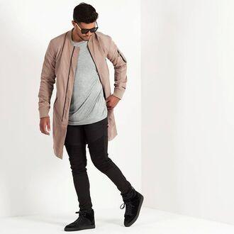 jacket maniere de voir bomber jacket longline bomber beige kanye khaki charcoal 36683