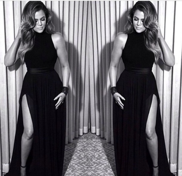 dress celebrity black dress prom dress black long prom dress long dress khloe kardashian slit dress chloe kardashian