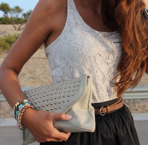 t-shirt lace white black black and white purse bag studs jewelry jewels belt