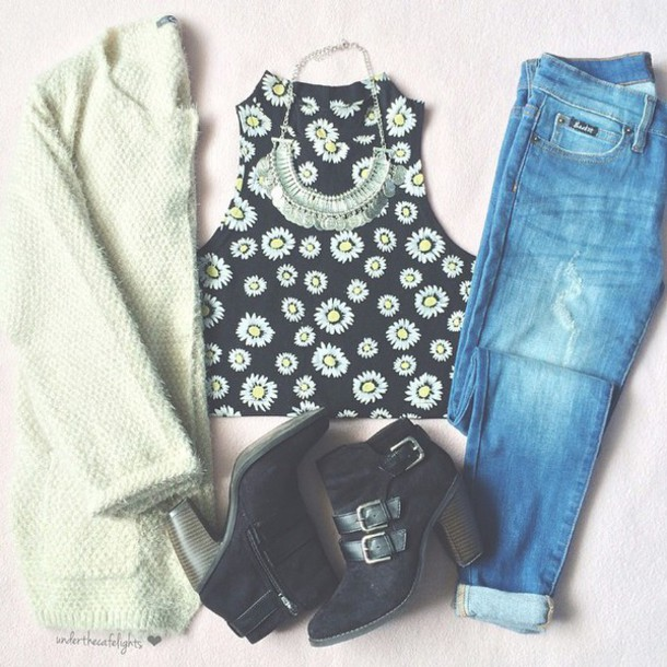 blouse sunflower black top