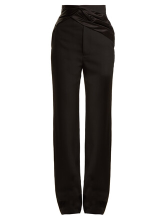 wool satin black pants