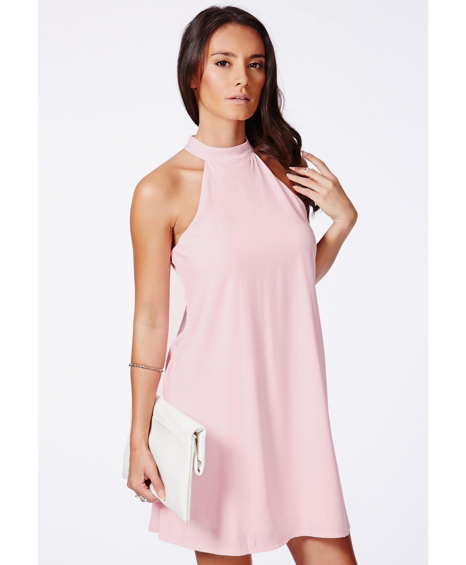 Missguided - Nikola Pink Halterneck Shift Dress