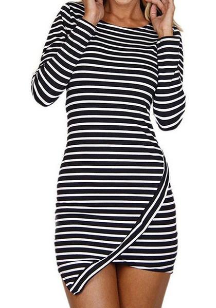 Striped Asymmetric Bodycon Dress | Lookbook Store