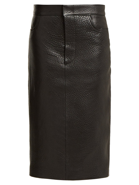 RAEY Tumbled-leather midi pencil skirt in black