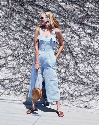jumpsuit blue jum sunglasses tumblr blue jumpsuit cropped jumpsuit shoes slide shoes bag round bag
