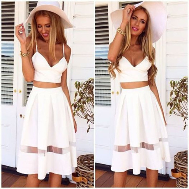 Top and skirt set white midi skirt summer outfits crop tops skirt edit