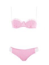 swimwear,bikini,gingham,pink,dentelle