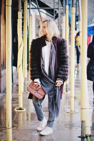 en vogue coop blogger handbag leather bag faux fur coat