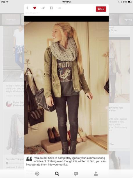coat jumpsuit leggings scarf shirt shoes