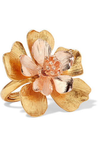 rose gold rose ring gold yellow jewels