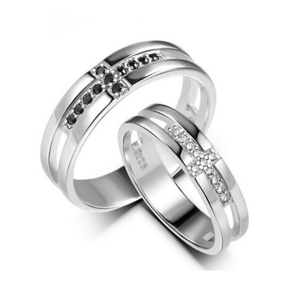 designer engagement silver matching rings set with engraving personalized couples gifts his her necklaces and bracelets engraved wedding rings couples