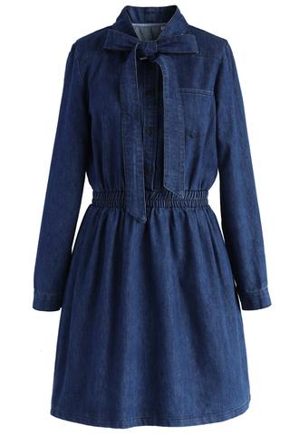 dress denim dress bowknot sweet