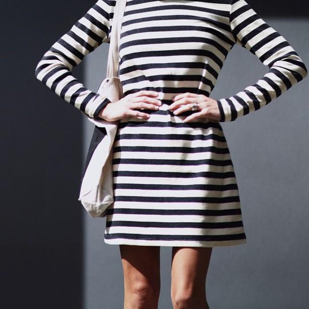 14f44a96fa37 dress stripes black and white stripes black and white striped dress  turtleneck long sleeves long sleeve