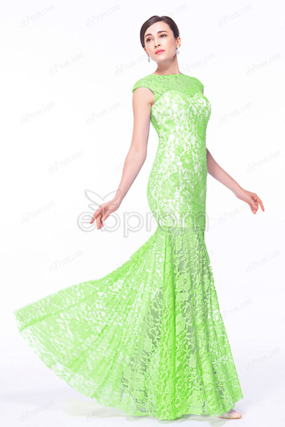 Dress Mermaid Prom Dress Long Cap Sleeves Backless Mesh Back