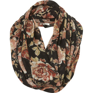 Black Floral Print Snood - Polyvore