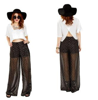 pants sheer wide leg polka dots trendyish
