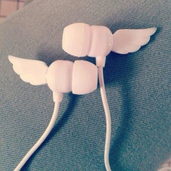 wings technology belt jewels earphones cool music kawaii angel wings white headphones earphones cute headphones