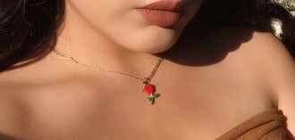 jewels rose chain necklace gold necklace red green
