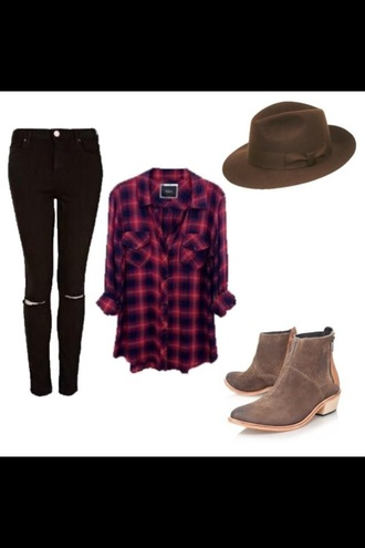 fadora brown fadora indie hipster grunge the 1975 unique flowy oversized plaid flannel shirt fashion black brown leather boots fadora hat with black material around it style harry styles hat boots skinny jeans jeans black jeans ripped jeans red flannel shirt