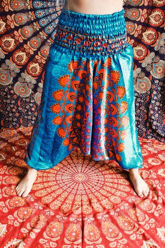 pants silk turquoise blue dress medallon medallion style gypsy hippie summer shorts summer dress fashion boho chic bohemian