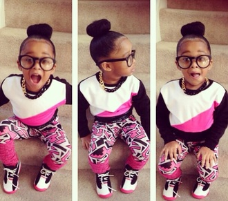pants bun hair bun kids fashion chain black and gold joggers jogger set glasses nerd glasses pink black white jordans kids with swag geometric