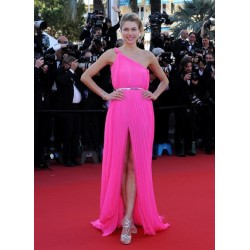 Jessica Hart Pink One Shoulder Printed Backless Formal Prom Dress The 66th Annual Cannes Film Festival Red Carpet