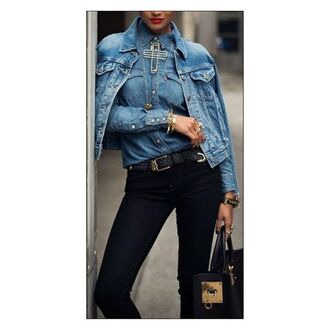 blouse denim jacket jeans blouse jeans black jeans bag jewlery silver stone lovely cool hipster lookbook leather bag black leather bag jewelry